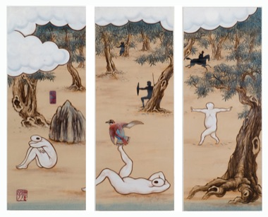 GUAN WEI   A Mysterious Land No.10  2007 Acrylic on canvas (3 panels)  130 x   162 cm