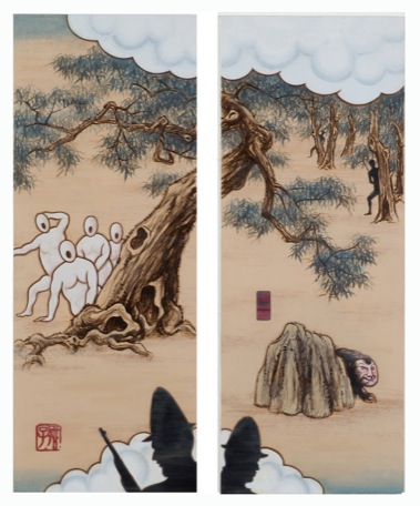 GUAN WEI   A Mysterious Land No.12  2007 Acrylic on canvas (2 panels)  130 x 106 cm
