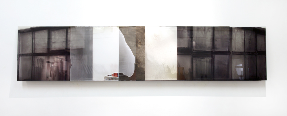 JANET LAURENCE    Ghosted Glasshouse l    2005   Duraclear, shinkolite acrylic, stainless steel, oil, pigment   235 x 50 cm