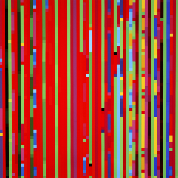 ROBERT OWEN     Melatonin Shift #4 - Time Series Statistics - Feeling Time 2005  198 x 198 cm Synthetic Polymer Paint on Linen