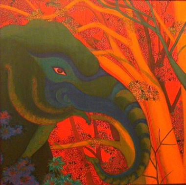 PHAPTAWAN SUWANNAKUDT     The Elephant in the Bush #1    2004   Oil on Canvas 60 x 60 cm