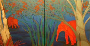 PHAPTAWAN SUWANNAKUDT     The Elephant in the Bush #3    2004   Oil on Canvas/diptych 60 x 120   cm