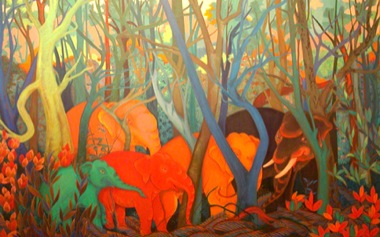 PHAPTAWAN SUWANNAKUDT     The Elephant in the Bush #7    2004   Oil on Canvas 18  0 x 12  0 cm