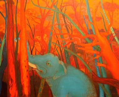 PHAPTAWAN SUWANNAKUDT     The Elephant in the Bush #8    2004   Oil on Canvas 76 x 91 cm