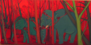 PHAPTAWAN SUWANNAKUDT     The Elephant in the Bush #2    2004   Oil on Canvas/diptych 60 x 12  0 cm