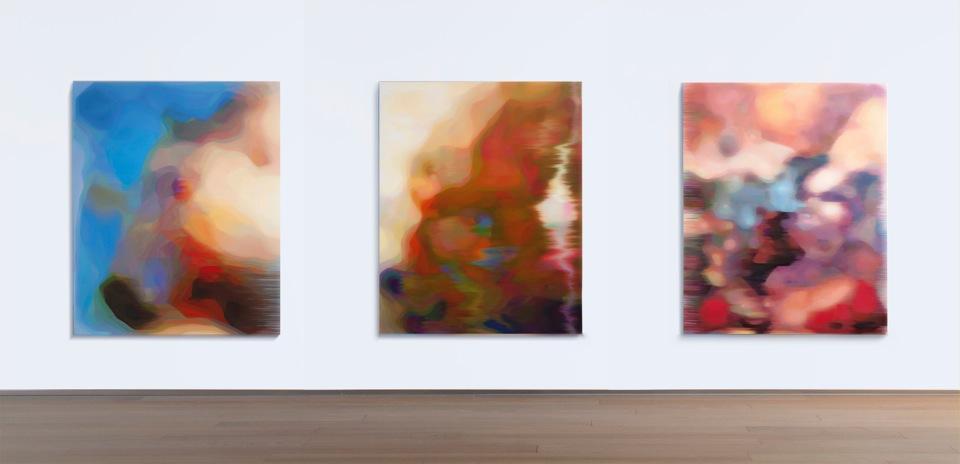 JOHN YOUNG    LKM (Blue) ,  LKM (Gold) ,  LKM (Pink)  (install view)