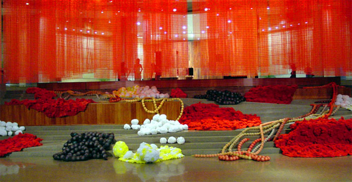 Orifices 2000-04  - The Esplanade Theatres on the Bay, Singapore, 2004, Plastic kitchen scourers, polystyrene balls and mesh used for protective purposes, Dimensions variable