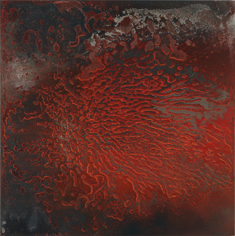 Incendie , 2015, Mixed media on aluminium, 120 x 120 cm