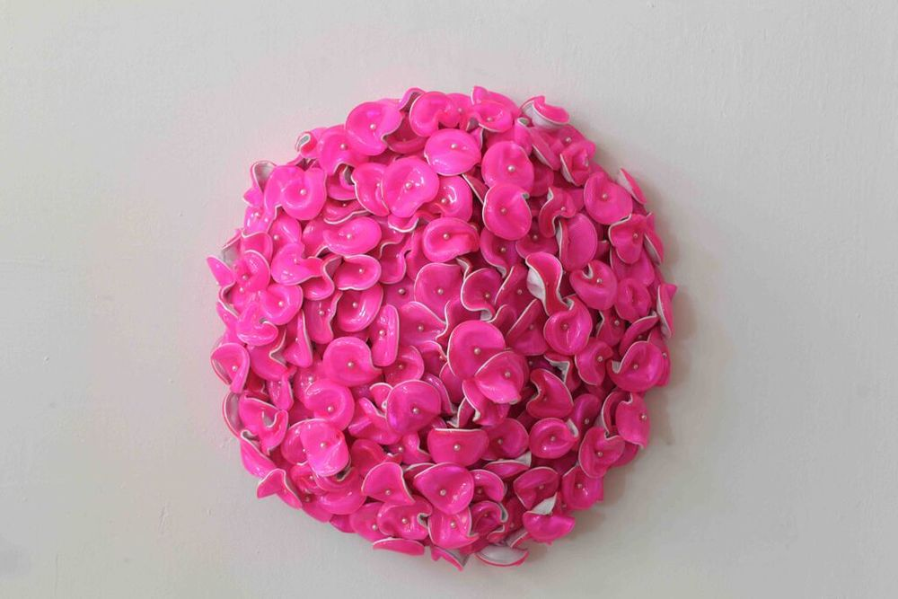 DANI MARTI   Untitled (pink)  2013 Corner cube reflectors and glass beads on galvanised steel frame 60 x 60 cm