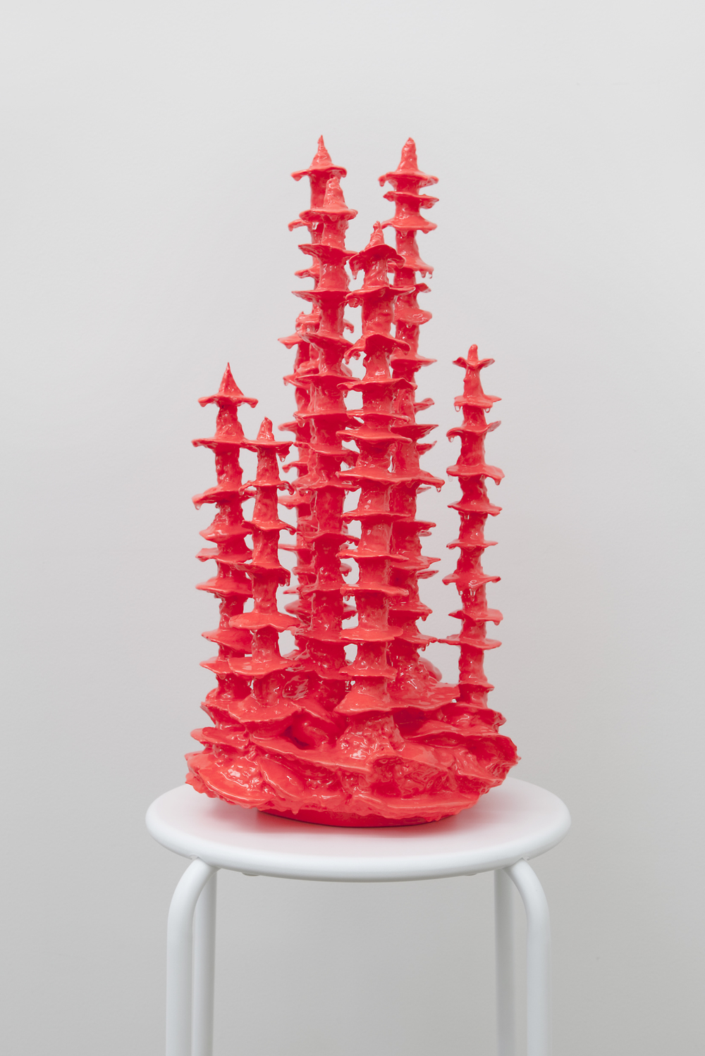 TRACY SARROFF   Glow-in-the-dark Stalagmite, red II  2013 Wood, expanding foam, phosphorescent paint, epoxy resin 56 x 30 cm
