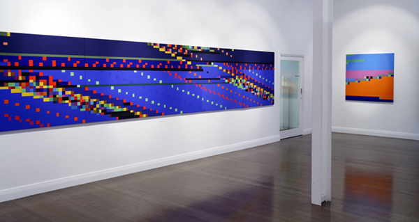 ROBERT OWEN    Witness Facing East  2005-2006 Synthetic Polymer Paint on Linen (6 panels) Installation view