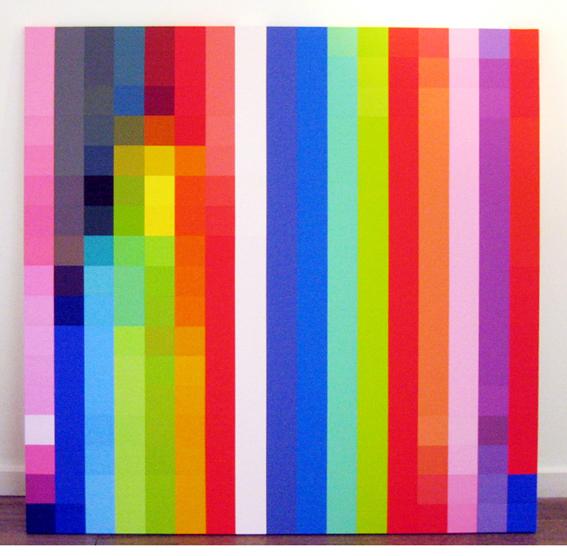 ROBERT OWEN     Spectrum Analysis #13  2005 polymer paint on linen  122 x 122 cm