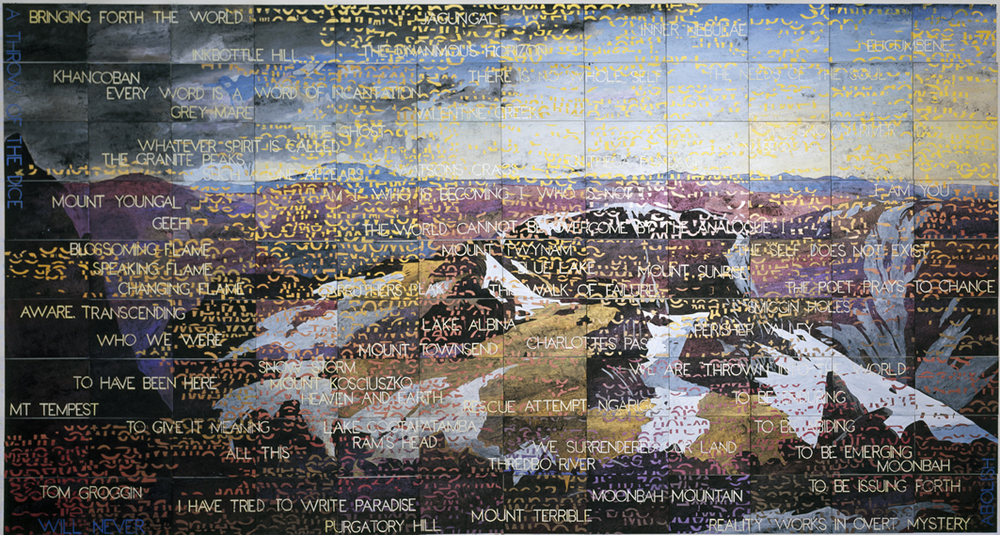 IMANTS TILLERS    On the Mountain  2013 Acrylic, gouache on 108 canvas boards 228.6 x 426.7 cm