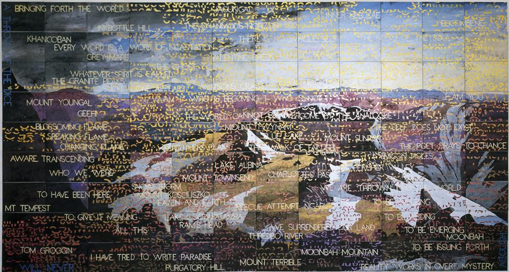 IMANTS TILLERS    On the Mountain  2013 Acrylic, gouache on 108 canvas boards 228.6 x 426.7 cm