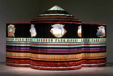 Maria Fernanda Cardoso , Cardoso Flea Circus , 1996. Acrylic and oil on cotton canvas, pigment on nylon taf feta, various fabrics, steel, brass, video, various props, and fleas, 294 x 243cm.