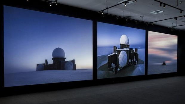 Installation view of  Inside the Dome (DYE 2)  by Murray Fredericks and Tom Schutzinger, at Geelong Art Gallery.   Photo: Andrew Curtis.