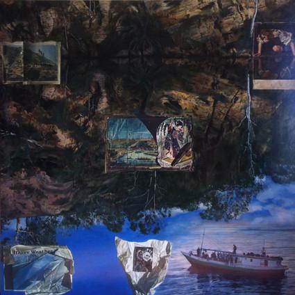 LYNDELL BROWN CHARLES GREEN   Deep Rock  2011 Oil on Linen 171 x 171 cm