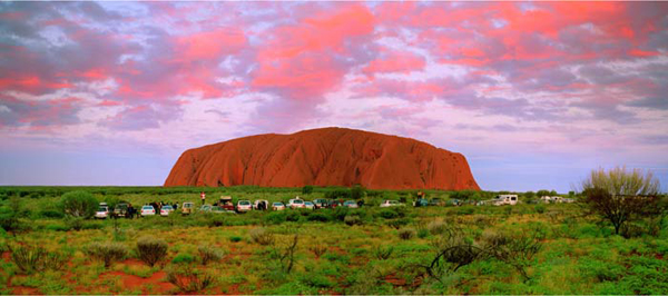 ANNE ZAHALKA     Sunset Viewing Area, Uluru, Northern Territory  2004 Light-jet print Type C edition of 6   115 x 260 cm