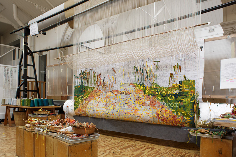 Imants Tillers, Avenue of Remembrance, commemorative tapestry commission work in progress. Photo by Jeremy Wehrauch.