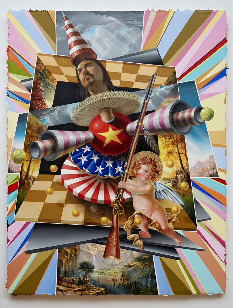 PETER DAVERINGTON   Victory  2014 oil, acrylic and gold leaf on canvas 160 x 125 cm