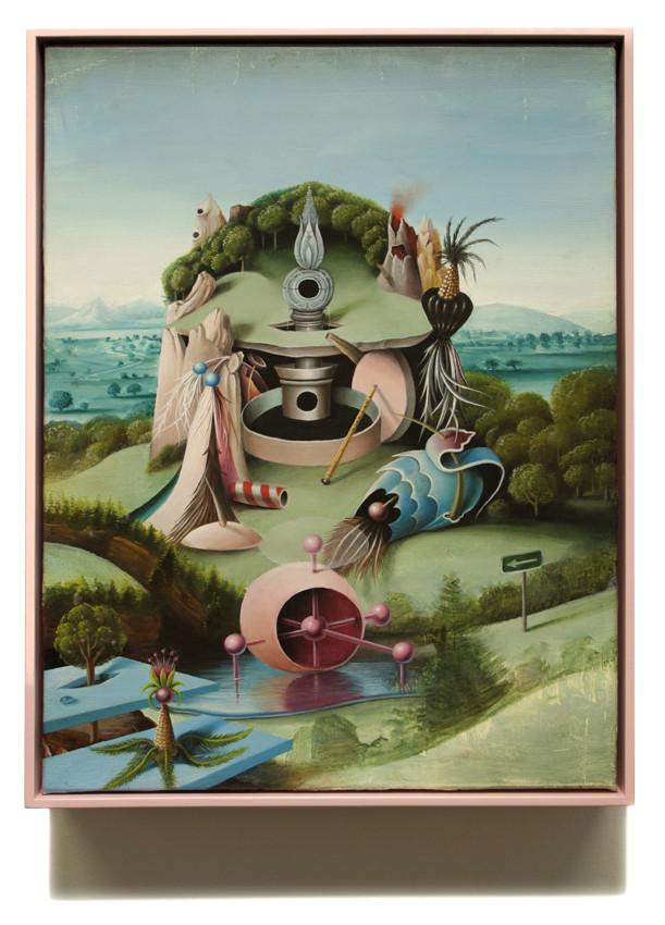 PETER DAVERINGTON     Terrestrial fun park for the friends of Bosch  2011 Oil on canvas 43 x 33 cm