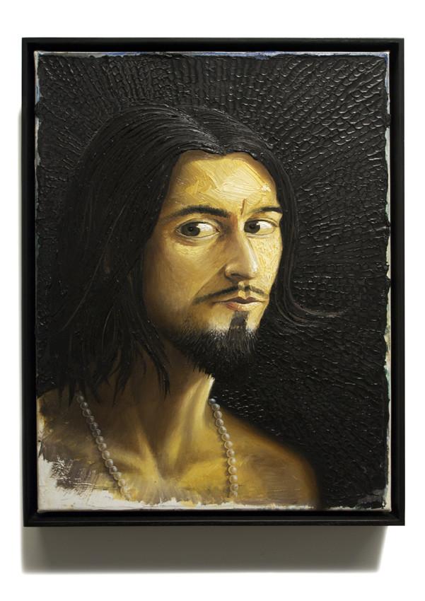 PETER DAVERINGTON     Self-portrait as man with pearl necklace  2011 Oil on canvas 43 x 33 cm