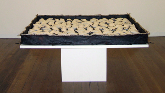JOHN DAVIS     Time Passes  1998 Twigs, Calico, Bituminous Paint, Cotton Thread 165 x 165 cm
