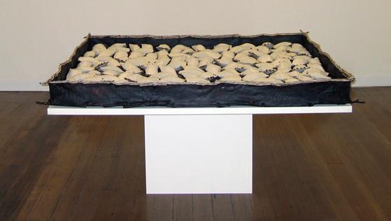 JOHN DAVIS     Time Passes  1998 Twigs, Calico, Bituminous Paint, Cotton Thread 165 x 165 cm