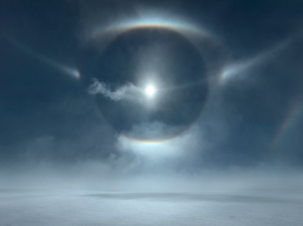 MURRAY FREDERICKS     Icesheet #4724, 22˚& 46˚ halo, tangent arc, parry arc, cza and parhelic circle  2013 Digital pigment print 120 x 160 cm
