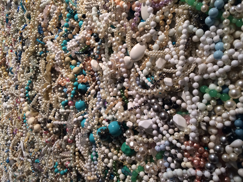 DANI MARTI     Mother (White and Blue) , detail 2014 Second-hand necklaces on aluminium frame 170 x 170 cm