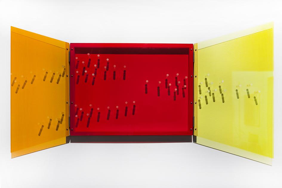 TRACY SARROFF     Window: orange, red, yellow  2013 Perspex, wood, screws, hinges 95 x 130 cm