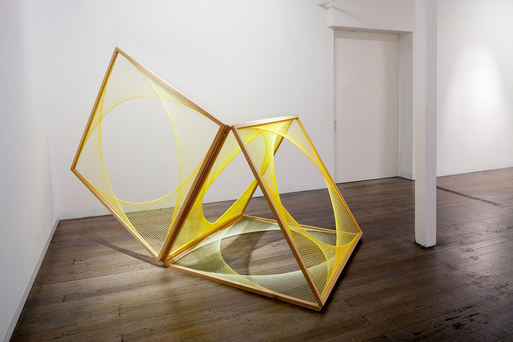 NIKE SAVVAS     Sliding Ladder: Yellow   Sparks  Exhibition View, 2014 150 x 150 cm