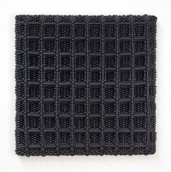DANI MARTI     Strictly Porn (Variations in serious Blk Dress, No. 11 Take 3)  2005 rubber on wood  120 x 120 cm