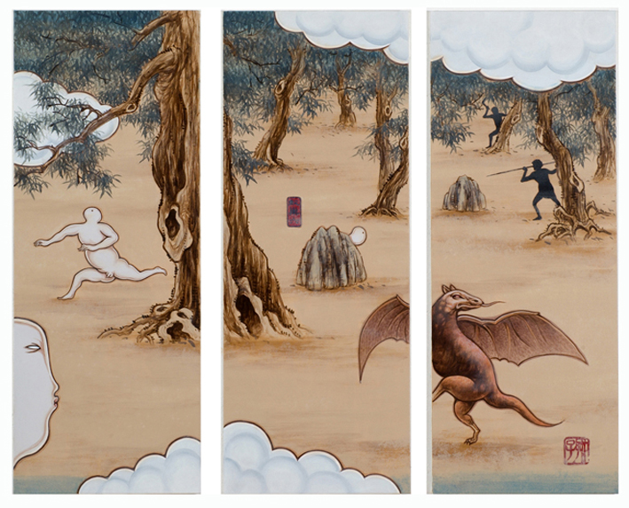GUAN WEI   A Mysterious Land No.4   2007   Acrylic on canvas (3 panels)   130 x   162 cm