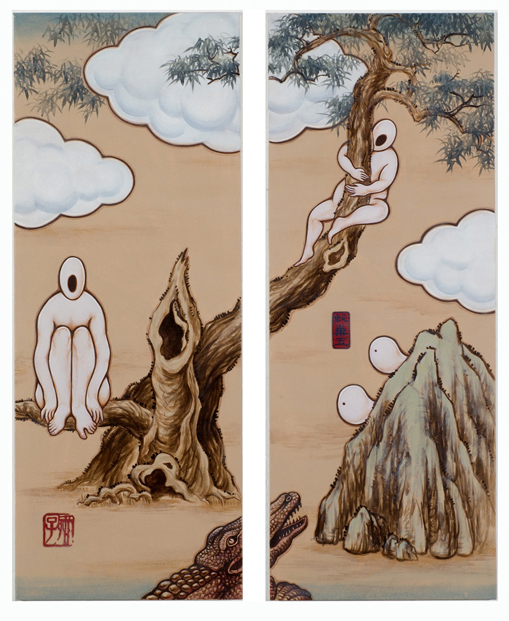 GUAN WEI   A Mysterious Land No.9   2007   Acrylic on canvas (2 panels)   130 x 106 cm