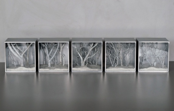 Catherine Woo,  Out of the woods , perspex, aluminium, glass, wood and pigment, 10 x 10 x 8.6 cm (each).