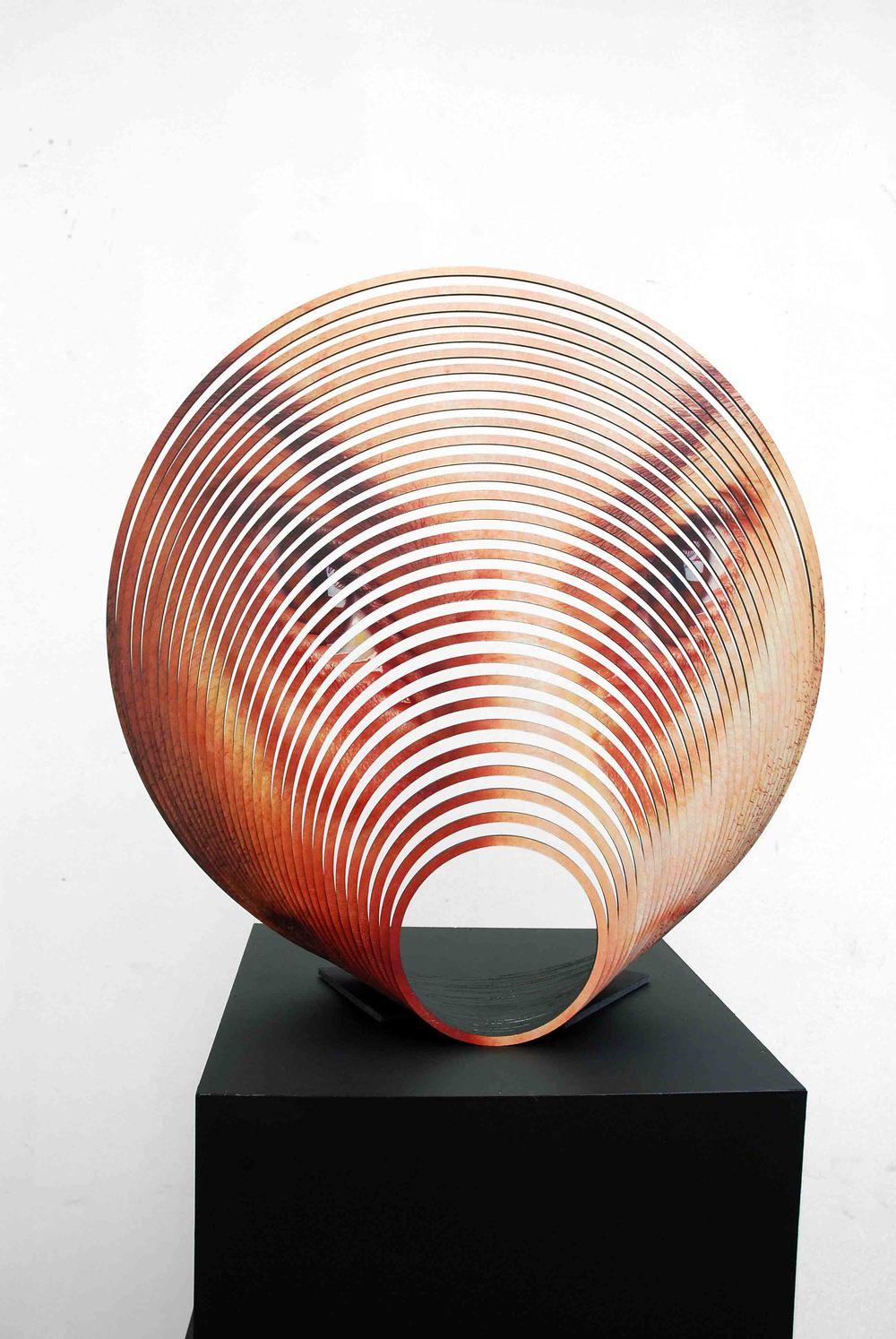 JUSTINE KHAMARA   Scalloped 2  2015 Laser-cut UV print on hoop pine plywood, acrylic paint 55 x 55 x 12 cm