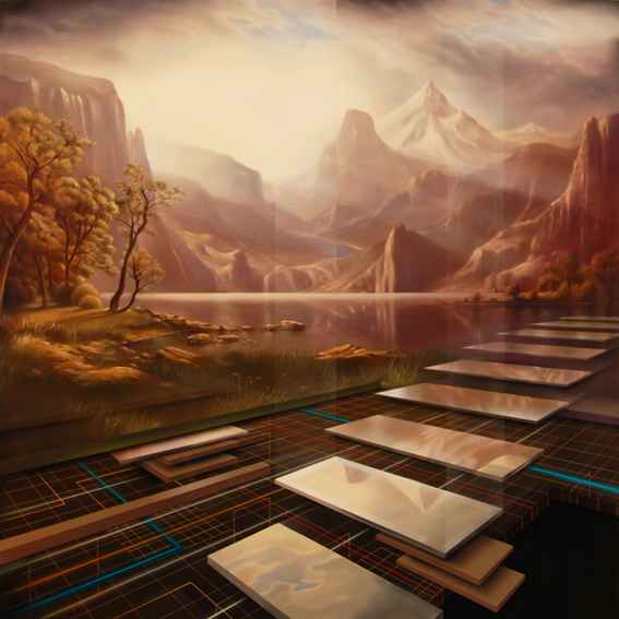 The New Colony-From Bierstadt to Neuromancer , 2008-2009, Oil and Enamel on Canvas, 183 x 183 cm