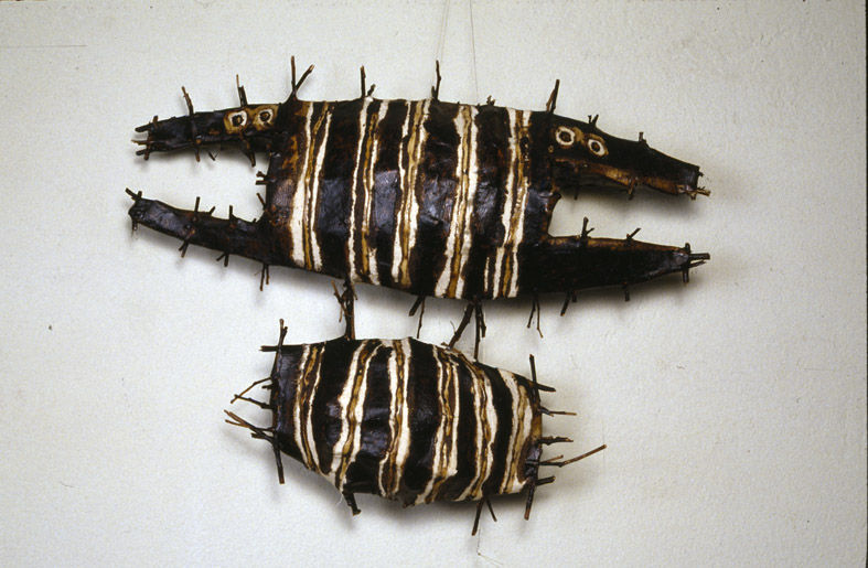150 Fish  (detail), 1994-1998, eucalyptus twigs, cotton thread, calico, paper, bituminous paint, dimensions variable