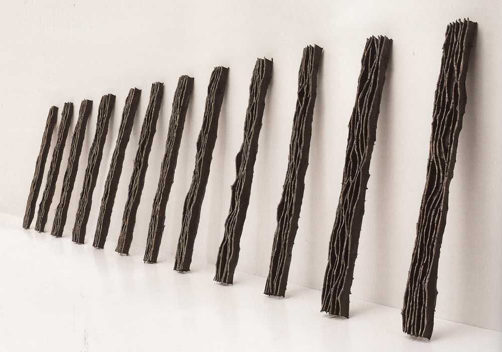 River,  1998, Twigs, Calico, Bituminous Paint, Cotton Thread, 300 x 30-70 x 23 cm