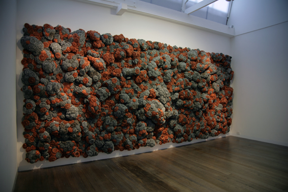 Time is the Fire in which we Burn (Take 2)  - Installation, 2009, Stainless steel, galvanized iron, copper scourers and galvanized fencing, 260 x 610 cm