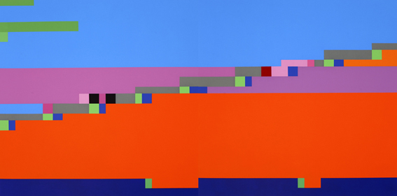 Blue Note #1 & #6, 2006  (Music by G.I. Gurdjieff,  Interlude II ), 2006, Synthetic Polymer Paint on Linen, 122 x 244 cm
