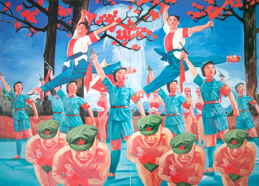 Guo Jian,  Trigger happy IX , 1999. oil on canvas, 180 x 200cm .