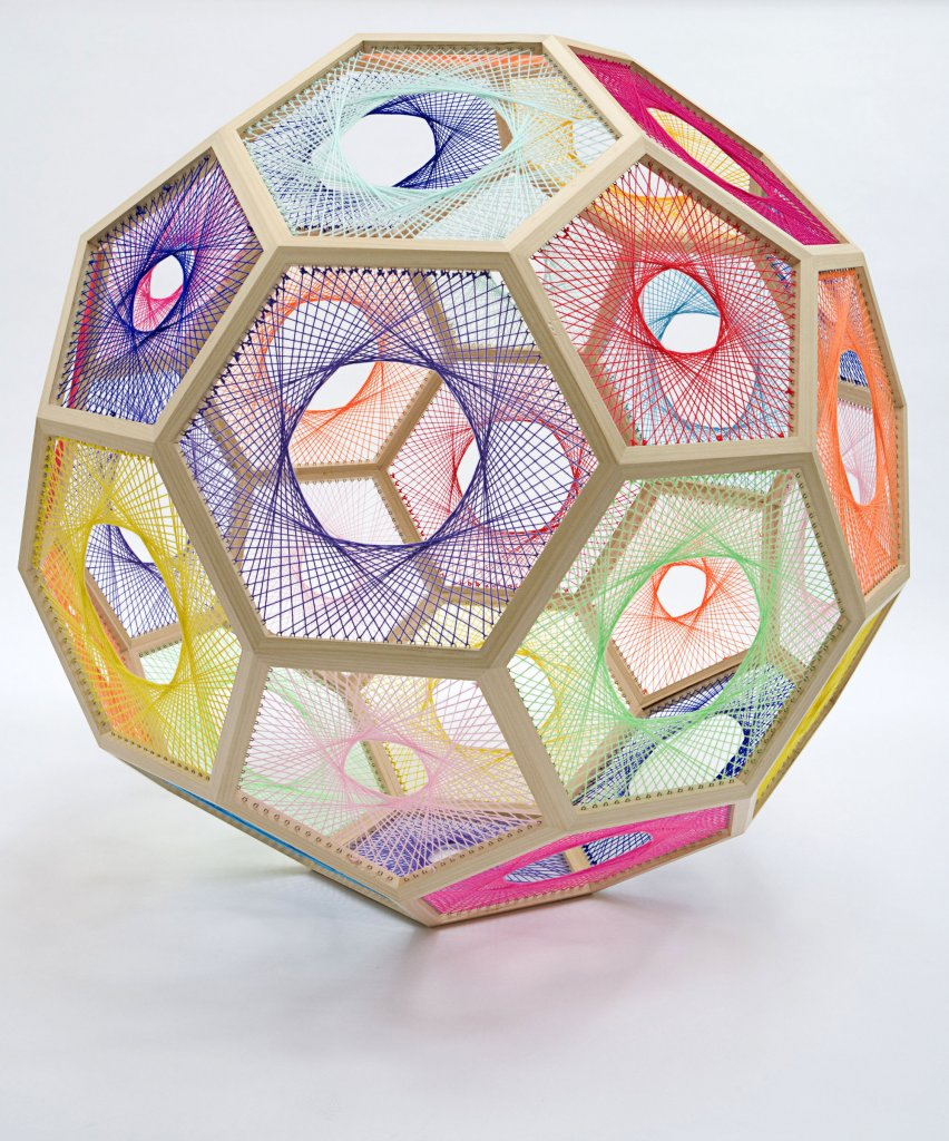 Sliding Ladder: Truncated Icosahedron , 2010, Wood, wool, stainless steel, 130cm x 130cm