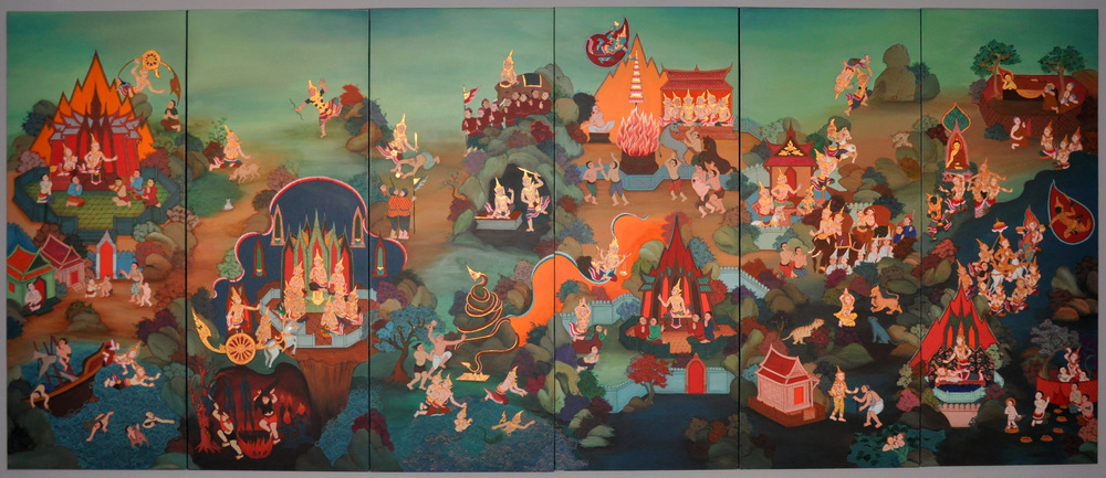 Lives of Buddha , 1997-1998, 6 panels; acrylic and gold leaf on canvas, 180 x 432 cm