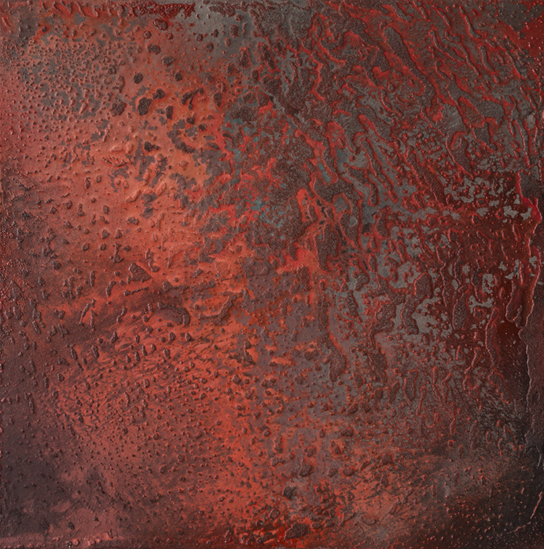 Red Earth , 2015, Mixed media on aluminium, 120 x 120 cm
