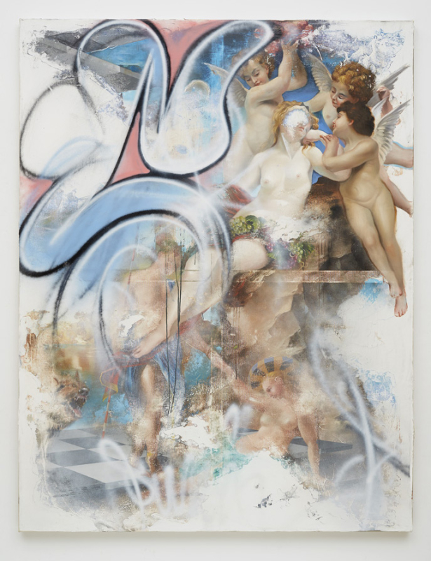 Peter Daverington,  Learn From the Classics – But Please Don't Destroy Them,  2015, oil, enamel and gesso on canvas, 198 x 152cm.