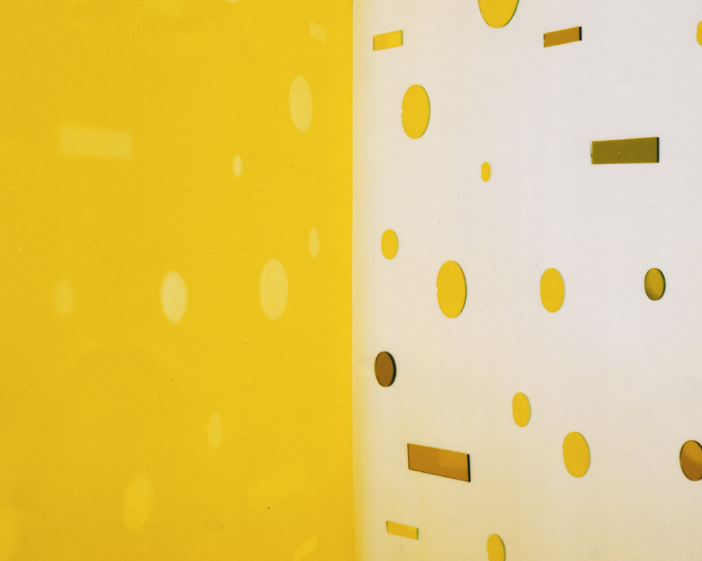 JACKY REDGATE   Light Throw (Mirrors) Fold - Yellow  2016 chromogenic photograph (handprinted Sandyprints) 104 x 130 cm