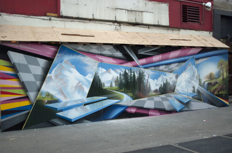 Chelsea, New York City  Spray-paint on wall (240 x 910) cm