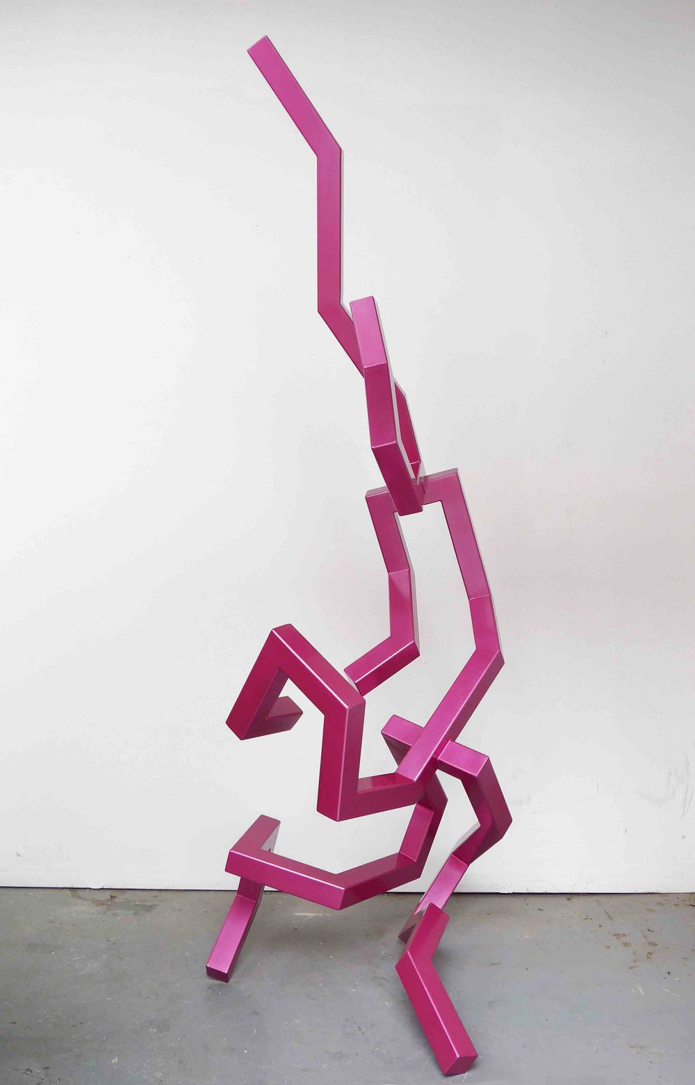 CALEB SHEA   Untitled (Sparkled Magenta)  2016 stainless steel, polyurethane paint 223 x 96 x 80 cm